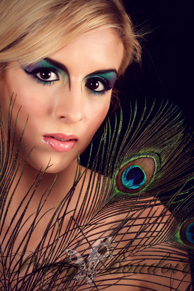 make-up; peacock feathers; boudoir; glamour